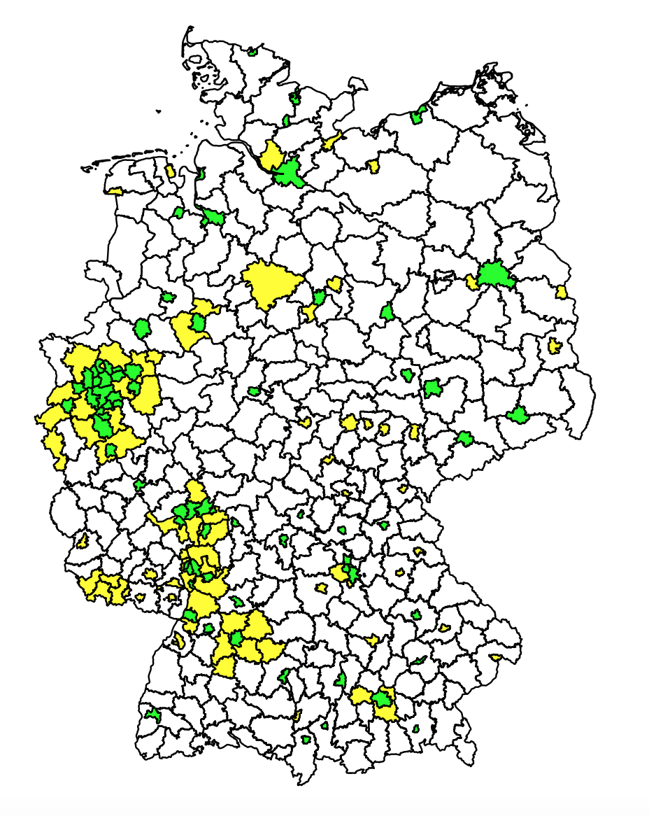 Half the people of Germany live in these few areas (drawing up the map with R)